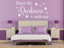 """Wall Quote """"Share The Darkness With Me"""" Cute Love Sticker Decal Decor Transfer"""